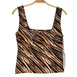 Leith Square neck Animal Print  Crop Tank Top
